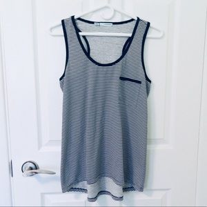 2/$40 Maurices Navy+White Striped Scoop Neck Top